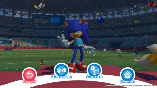 Event menu screenshot of Mario and Sonic at the Olympic Games: Tokyo 2020 video game interface.