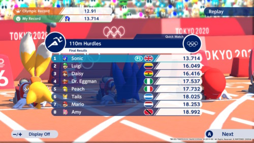 Final results screenshot of Mario and Sonic at the Olympic Games: Tokyo 2020 video game interface.