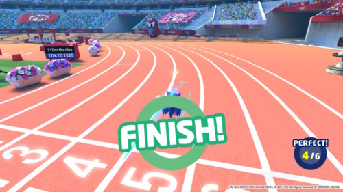 Finish screenshot of Mario and Sonic at the Olympic Games: Tokyo 2020 video game interface.