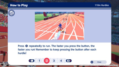 How to play screenshot of Mario and Sonic at the Olympic Games: Tokyo 2020 video game interface.