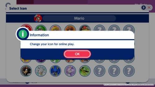 Information screenshot of Mario and Sonic at the Olympic Games: Tokyo 2020 video game interface.