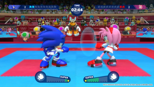 Karate screenshot of Mario and Sonic at the Olympic Games: Tokyo 2020 video game interface.