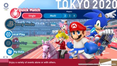 Main menu screenshot of Mario and Sonic at the Olympic Games: Tokyo 2020 video game interface.