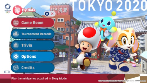 My data screenshot of Mario and Sonic at the Olympic Games: Tokyo 2020 video game interface.