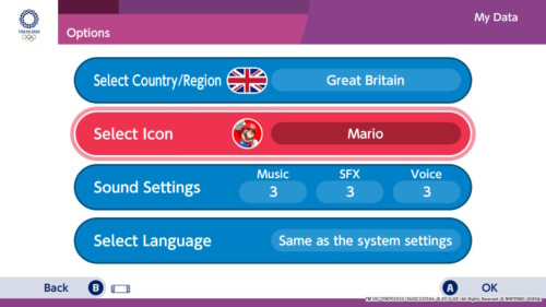 Options screenshot of Mario and Sonic at the Olympic Games: Tokyo 2020 video game interface.