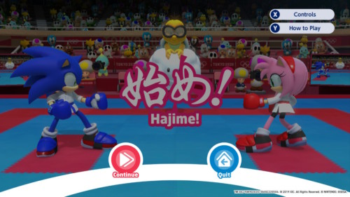 Paused screenshot of Mario and Sonic at the Olympic Games: Tokyo 2020 video game interface.