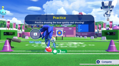 Practice screenshot of Mario and Sonic at the Olympic Games: Tokyo 2020 video game interface.
