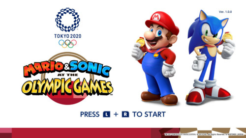 Press to start screenshot of Mario and Sonic at the Olympic Games: Tokyo 2020 video game interface.