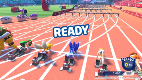 Ready screenshot of Mario and Sonic at the Olympic Games: Tokyo 2020 video game interface.