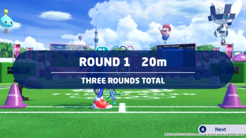 Round 1 screenshot of Mario and Sonic at the Olympic Games: Tokyo 2020 video game interface.