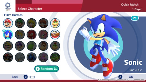 Select character screenshot of Mario and Sonic at the Olympic Games: Tokyo 2020 video game interface.