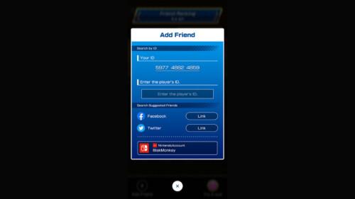 Add Friend Menu screenshot of Mario Kart Tour video game interface.