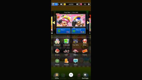 Game Menu screenshot of Mario Kart Tour video game interface.