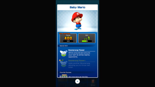 Inventory - Driver Detail screenshot of Mario Kart Tour video game interface.
