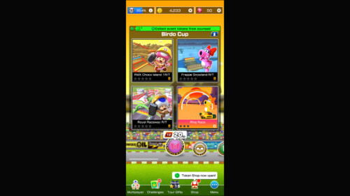 Level Selection screenshot of Mario Kart Tour video game interface.
