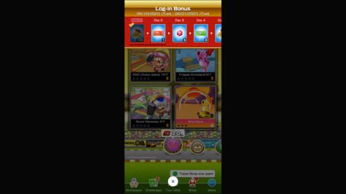 Log-in Bonus screenshot of Mario Kart Tour video game interface.