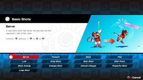 Basic shots screenshot of Mario Tennis Aces video game interface.