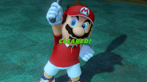 Cleared screenshot of Mario Tennis Aces video game interface.