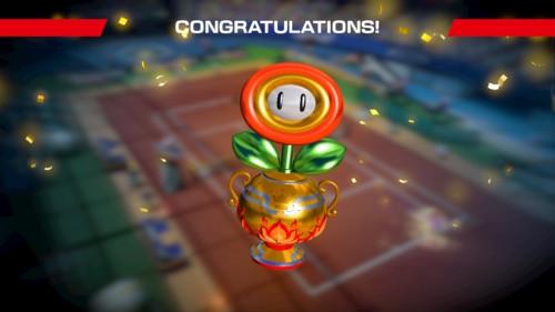 Congratulations screenshot of Mario Tennis Aces video game interface.