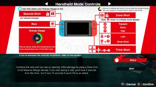 Controls screenshot of Mario Tennis Aces video game interface.
