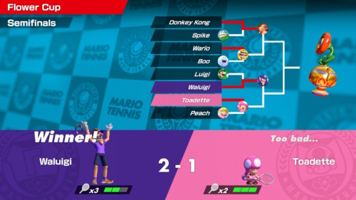 Flower cup screenshot of Mario Tennis Aces video game interface.
