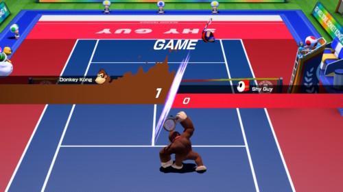 Game screenshot of Mario Tennis Aces video game interface.