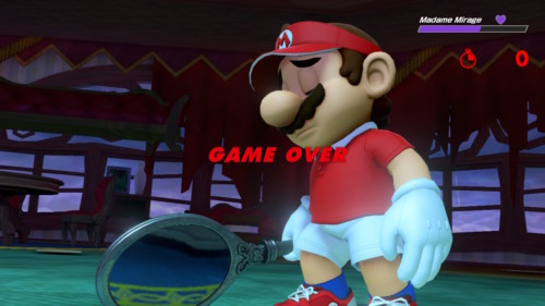 Game over screenshot of Mario Tennis Aces video game interface.