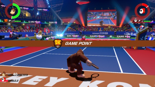 Game point screenshot of Mario Tennis Aces video game interface.