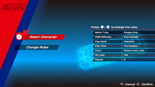 Game rules screenshot of Mario Tennis Aces video game interface.