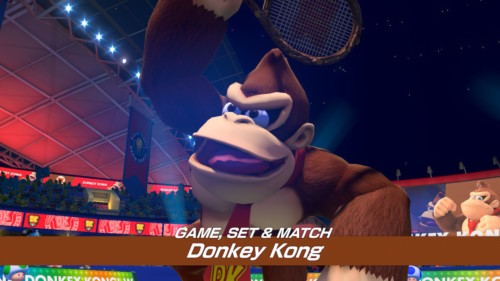 Game set and match screenshot of Mario Tennis Aces video game interface.
