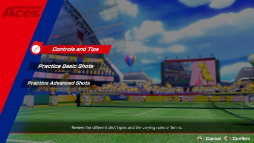 How to play screenshot of Mario Tennis Aces video game interface.