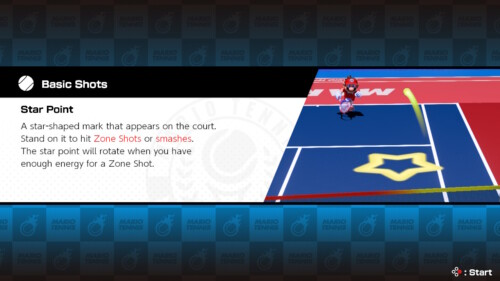 Loading screenshot of Mario Tennis Aces video game interface.