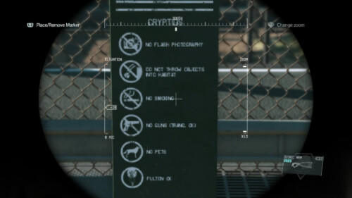 Binocular screenshot of Metal Gear Solid V: The Phantom Pain video game interface.