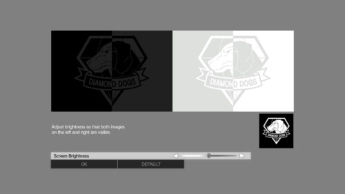 Brightness screenshot of Metal Gear Solid V: The Phantom Pain video game interface.