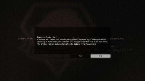 Confirmation screenshot of Metal Gear Solid V: The Phantom Pain video game interface.