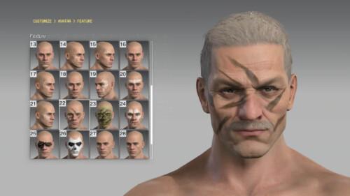 Customization screenshot of Metal Gear Solid V: The Phantom Pain video game interface.
