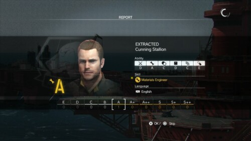 Report screenshot of Metal Gear Solid V: The Phantom Pain video game interface.