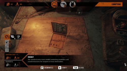 Crafting screenshot of Metro Exodus video game interface.
