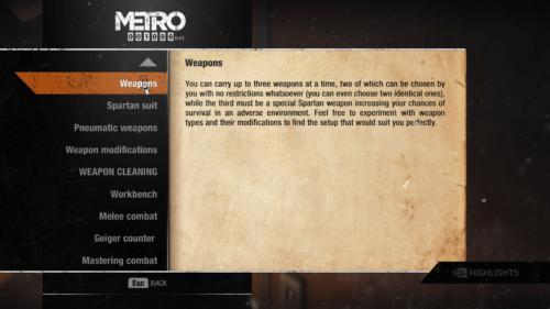 Information screenshot of Metro Exodus video game interface.