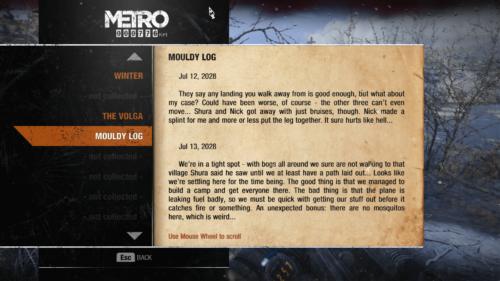Log screenshot of Metro Exodus video game interface.