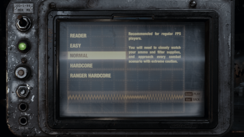 Select difficulty screenshot of Metro Exodus video game interface.