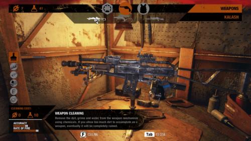 Weapon cleaning screenshot of Metro Exodus video game interface.
