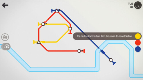 In Game screenshot of Mini Metro video game interface.