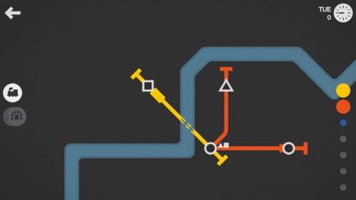 In Game (Night Mode) screenshot of Mini Metro video game interface.