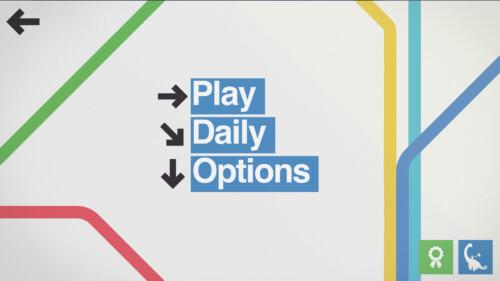Start Screen screenshot of Mini Metro video game interface.