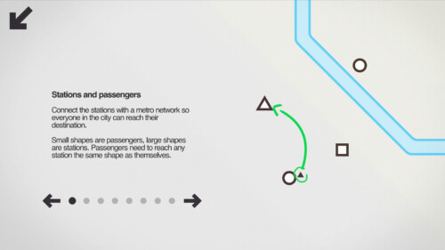 Tutorial screenshot of Mini Metro video game interface.