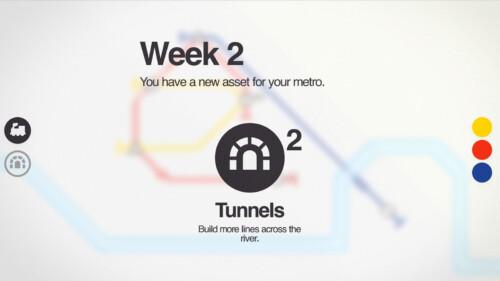 Week 2 Overlay screenshot of Mini Metro video game interface.