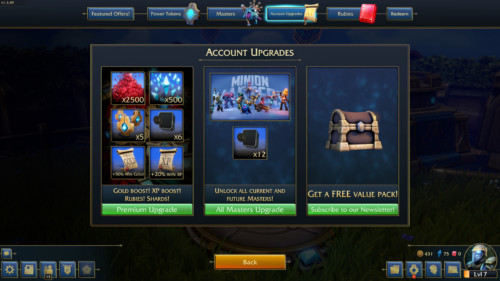 Account upgrades screenshot of Minion Masters video game interface.
