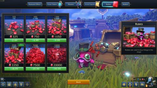 Buy rubies screenshot of Minion Masters video game interface.