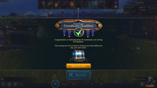 Congratulations screenshot of Minion Masters video game interface.